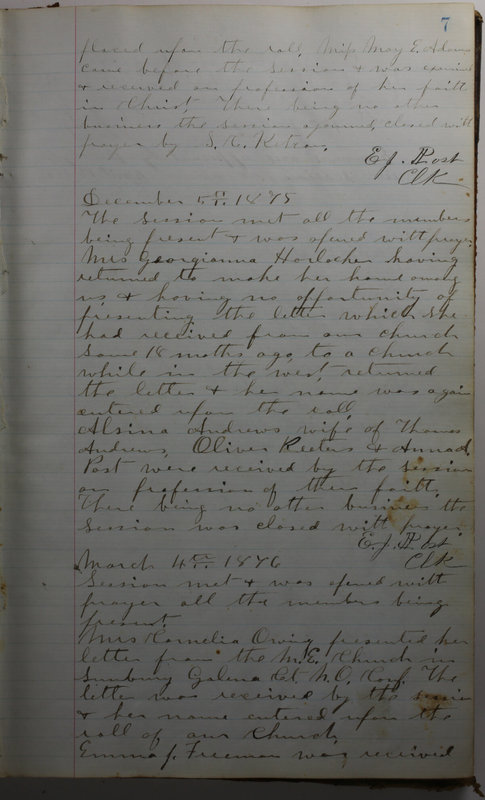 Sessional Records of the 1st Presbyterian Church of Trenton Delaware County Ohio 1873-1937 (p. 11)