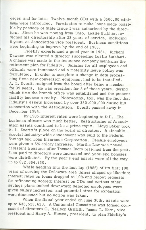 Fidelity Federal Savings and Loan Association 100 Years (p. 24)