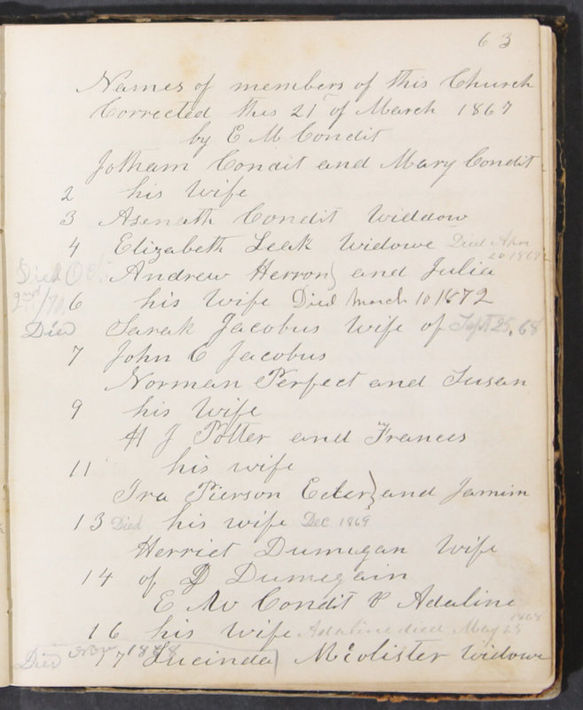 Sessional Records of the 1st Presbyterian Church of Trenton, Delaware Co., Ohio, 1831 (p. 69)