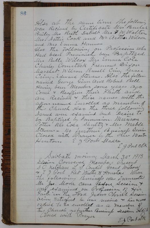 Sessional Records of the 1st Presbyterian Church of Trenton Delaware County Ohio 1873-1937 (p. 90)