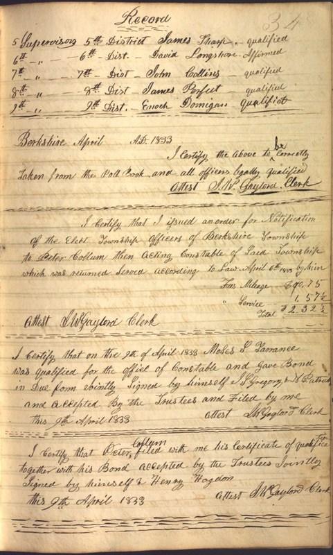 Record Book of Berkshire Township No. 2 1807-1843 (p. 47)