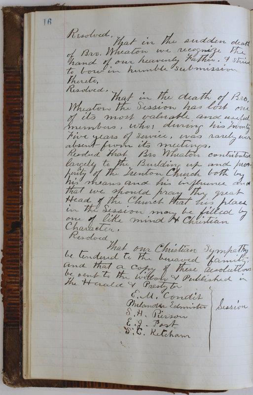 Sessional Records of the 1st Presbyterian Church of Trenton Delaware County Ohio 1873-1937 (p. 20)