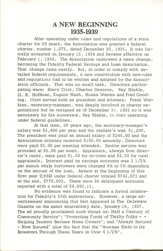 Fidelity Federal Savings and Loan Association 100 Years (p. 11)