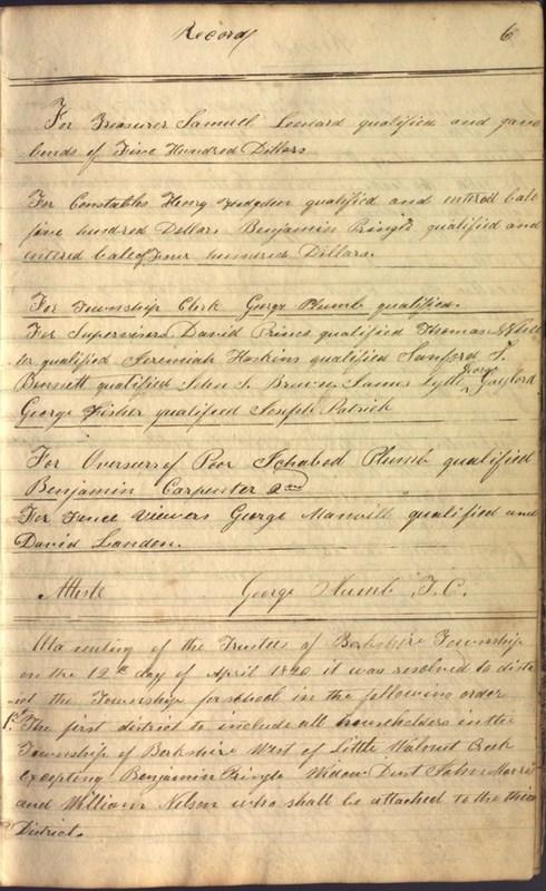 Record Book of Berkshire Township No. 2 1807-1843 (p. 19)