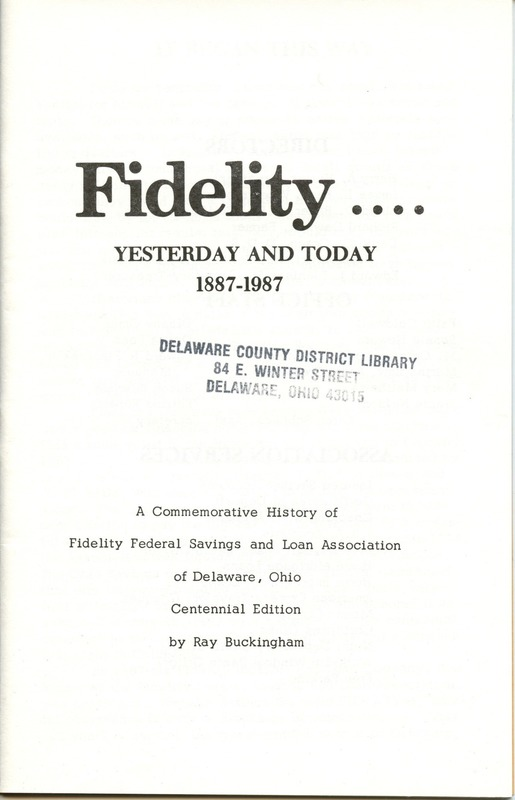 Fidelity Federal Savings and Loan Association 100 Years (p. 2)