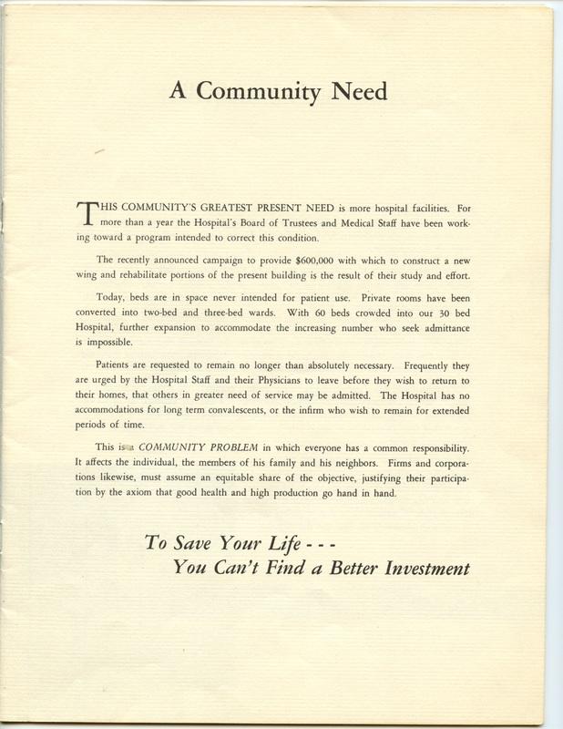The Jane M. Case Hospital Building Campaign (p. 3)