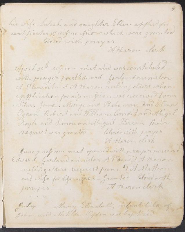 Sessional Records of the 1st Presbyterian Church of Trenton, Delaware Co., Ohio, 1831 (p. 15)