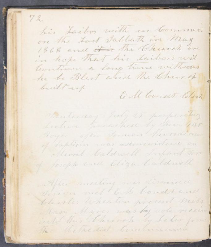 Sessional Records of the 1st Presbyterian Church of Trenton, Delaware Co., Ohio, 1831 (p. 78)