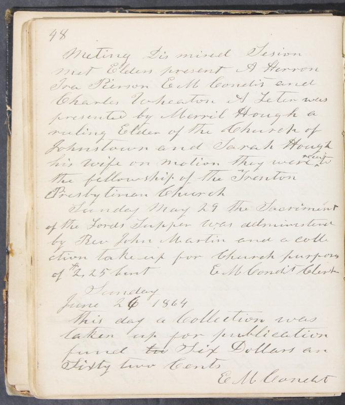Sessional Records of the 1st Presbyterian Church of Trenton, Delaware Co., Ohio, 1831 (p. 54)