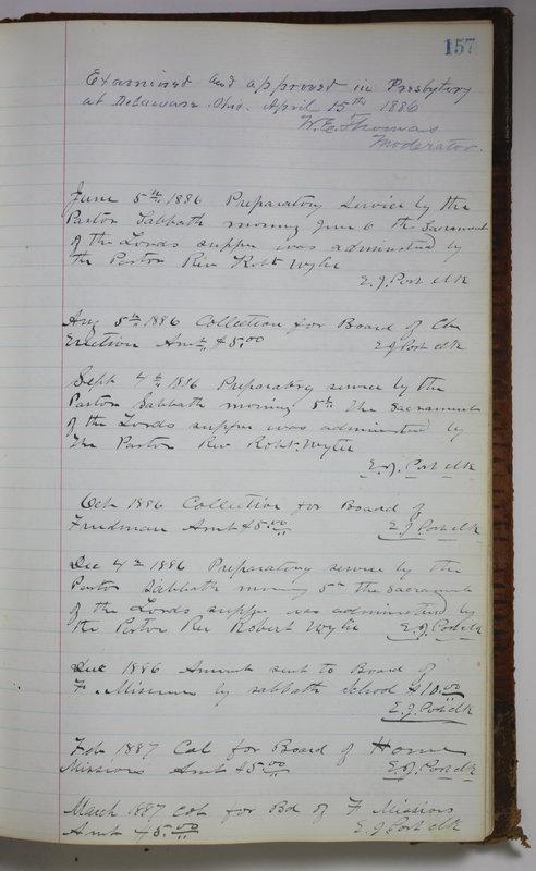 Sessional Records of the 1st Presbyterian Church of Trenton Delaware County Ohio 1873-1937 (p. 147)