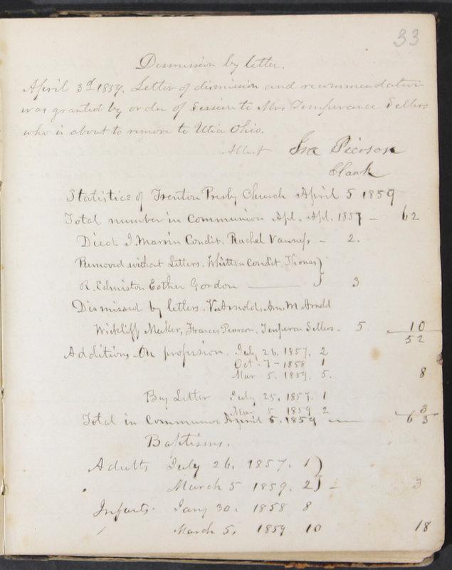 Sessional Records of the 1st Presbyterian Church of Trenton, Delaware Co., Ohio, 1831 (p. 39)