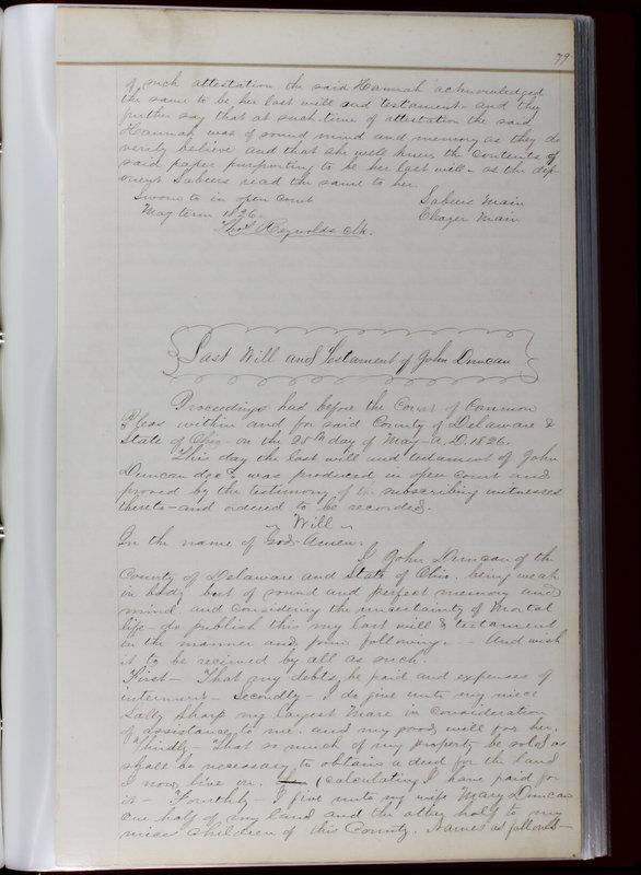 Delaware County Ohio Will Records Vol. 1 1812-1835 (p. 111)