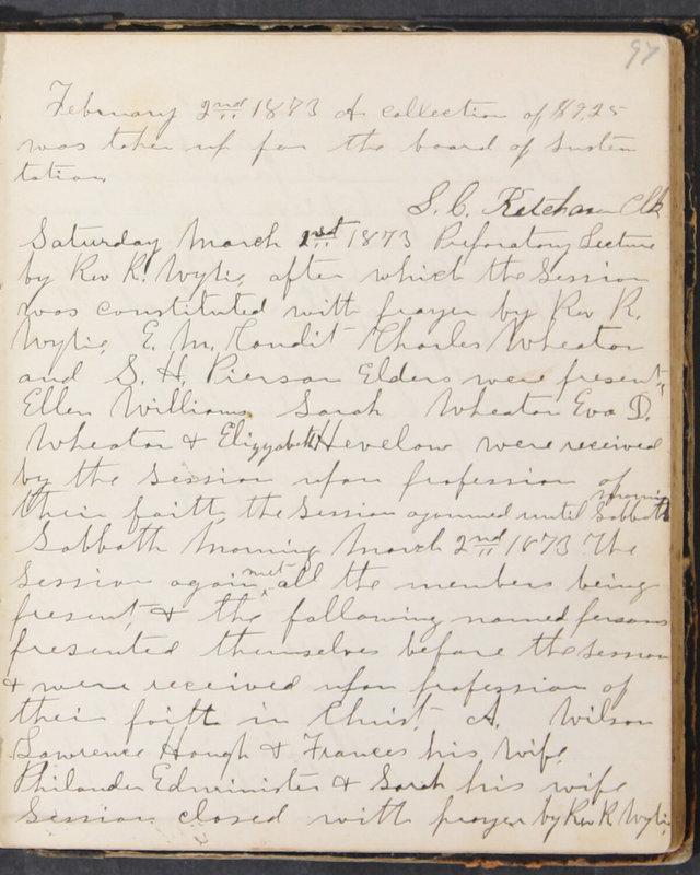 Sessional Records of the 1st Presbyterian Church of Trenton, Delaware Co., Ohio, 1831 (p. 103)