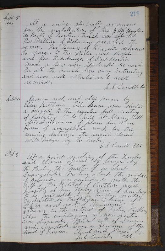 Sessional Records of the 1st Presbyterian Church of Trenton Delaware County Ohio 1873-1937 (p. 207)