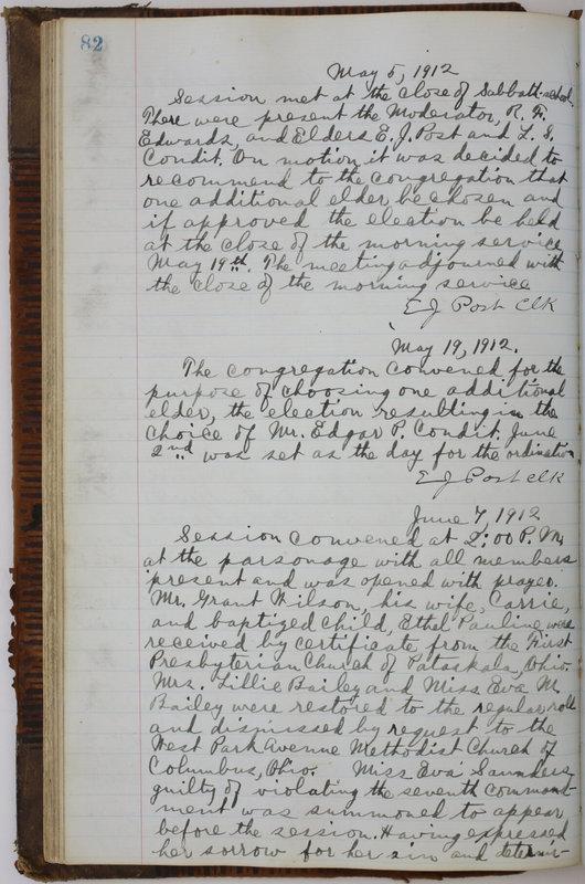 Sessional Records of the 1st Presbyterian Church of Trenton Delaware County Ohio 1873-1937 (p. 86)