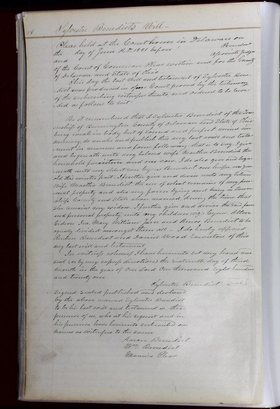 Delaware County Ohio Will Records Vol. 1 1812-1835 (p. 50)