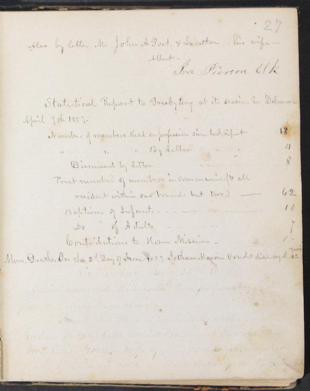 Sessional Records of the 1st Presbyterian Church of Trenton, Delaware Co., Ohio, 1831 (p. 33)
