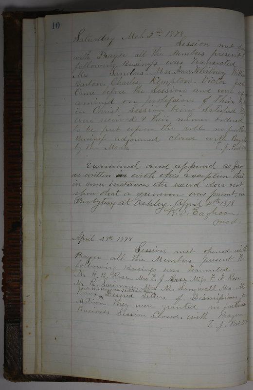 Sessional Records of the 1st Presbyterian Church of Trenton Delaware County Ohio 1873-1937 (p. 14)