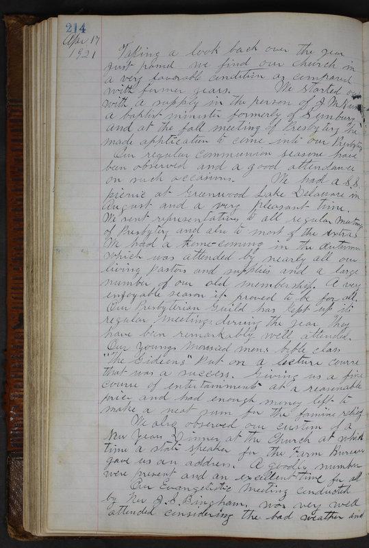 Sessional Records of the 1st Presbyterian Church of Trenton Delaware County Ohio 1873-1937 (p. 202)