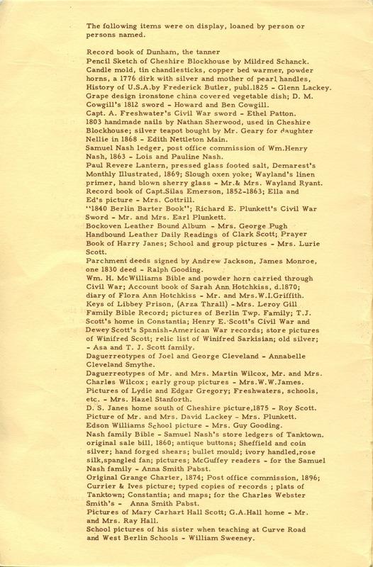 Berlin Township Program of the Delaware County Historical Society (p. 2)