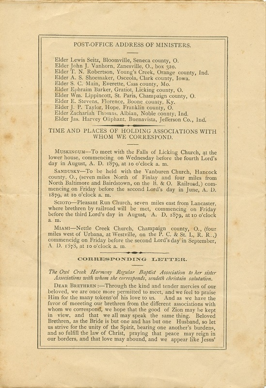 Minutes of the Forty-Sixth Annual Session of the Owl Creek Harmony Regular Baptist Association Begun and Held With Marlborough Church, Delaware County, O. (p. 6)