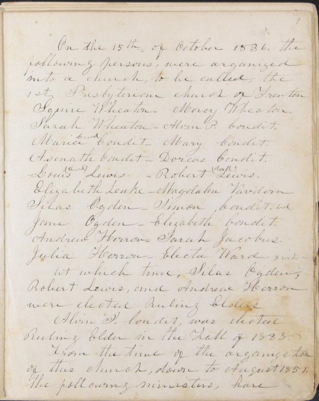 Sessional Records of the 1st Presbyterian Church of Trenton, Delaware Co., Ohio, 1831 (p. 7)