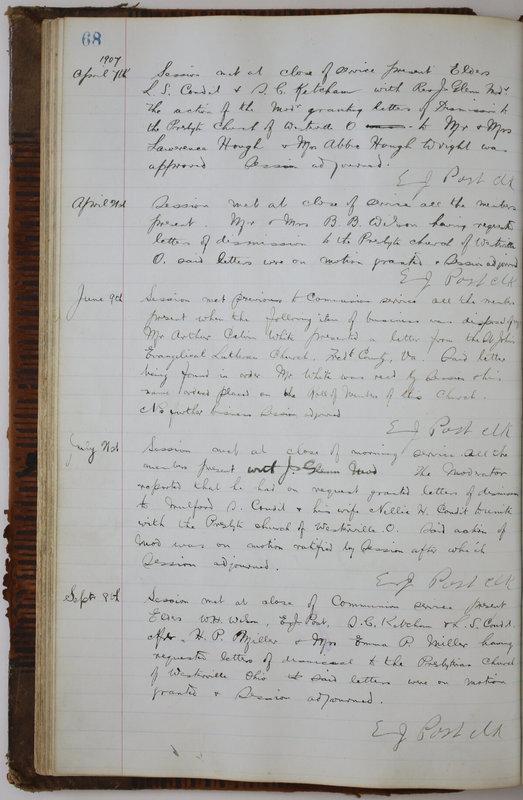 Sessional Records of the 1st Presbyterian Church of Trenton Delaware County Ohio 1873-1937 (p. 72)
