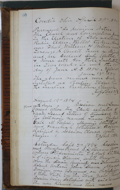 Sessional Records of the 1st Presbyterian Church of Trenton Delaware County Ohio 1873-1937 (p. 44)