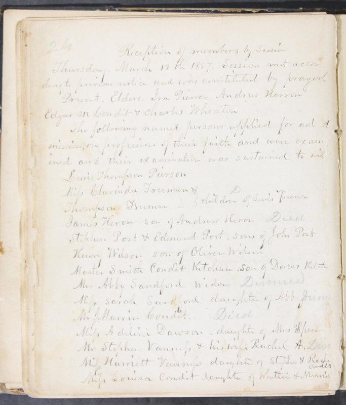 Sessional Records of the 1st Presbyterian Church of Trenton, Delaware Co., Ohio, 1831 (p. 30)