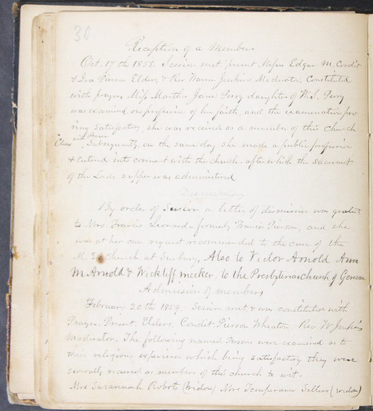 Sessional Records of the 1st Presbyterian Church of Trenton, Delaware Co., Ohio, 1831 (p. 36)