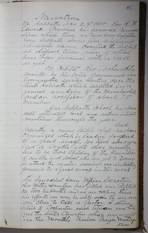 Sessional Records of the 1st Presbyterian Church of Trenton Delaware County Ohio 1873-1937 (p. 91)