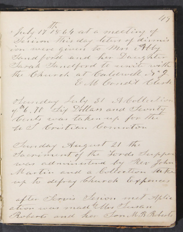 Sessional Records of the 1st Presbyterian Church of Trenton, Delaware Co., Ohio, 1831 (p. 55)