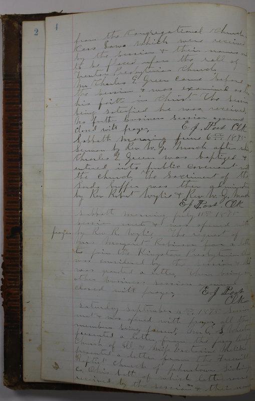 Sessional Records of the 1st Presbyterian Church of Trenton Delaware County Ohio 1873-1937 (p. 10)