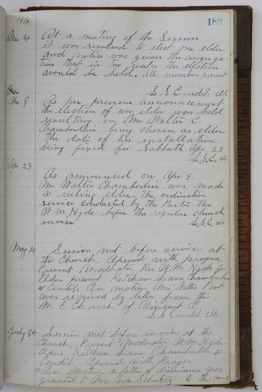 Sessional Records of the 1st Presbyterian Church of Trenton Delaware County Ohio 1873-1937 (p. 177)