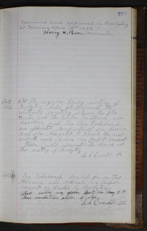 Sessional Records of the 1st Presbyterian Church of Trenton Delaware County Ohio 1873-1937 (p. 211)