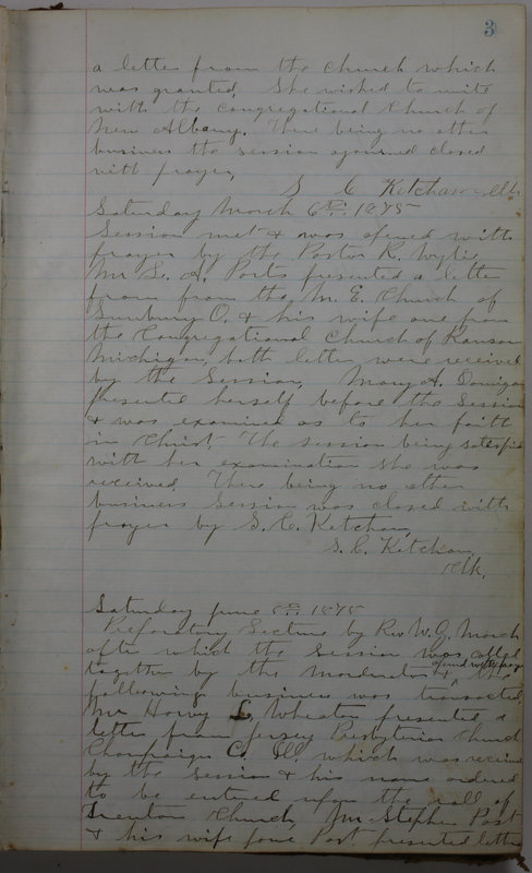 Sessional Records of the 1st Presbyterian Church of Trenton Delaware County Ohio 1873-1937 (p. 9)