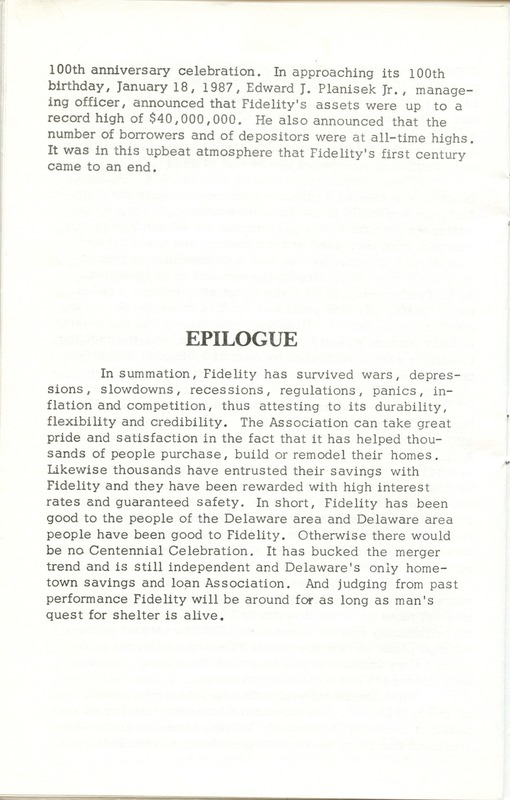 Fidelity Federal Savings and Loan Association 100 Years (p. 25)