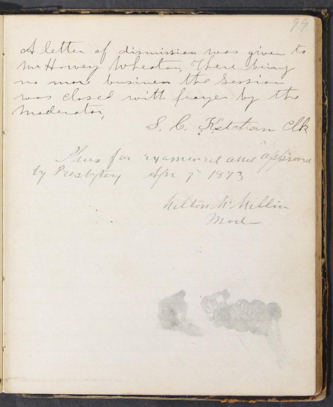 Sessional Records of the 1st Presbyterian Church of Trenton, Delaware Co., Ohio, 1831 (p. 105)