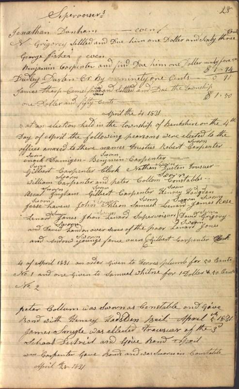 Record Book of Berkshire Township No. 2 1807-1843 (p. 41)