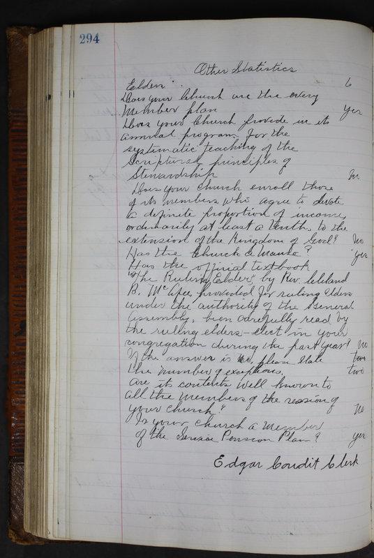 Sessional Records of the 1st Presbyterian Church of Trenton Delaware County Ohio 1873-1937 (p. 281)