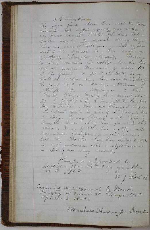 Sessional Records of the 1st Presbyterian Church of Trenton Delaware County Ohio 1873-1937 (p. 74)