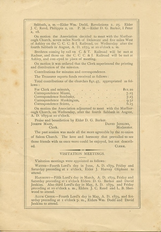 Minutes of the Forty-Sixth Annual Session of the Owl Creek Harmony Regular Baptist Association Begun and Held With Marlborough Church, Delaware County, O. (p. 4)
