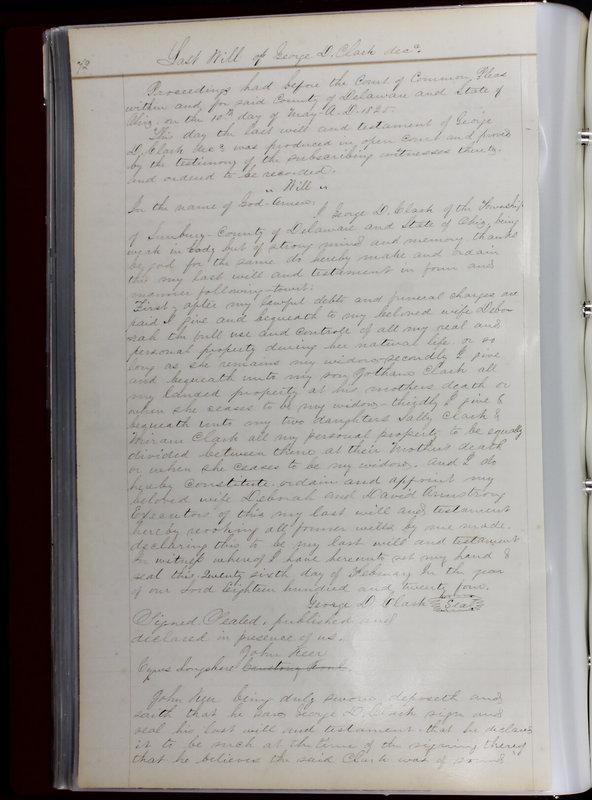 Delaware County Ohio Will Records Vol. 1 1812-1835 (p. 104)