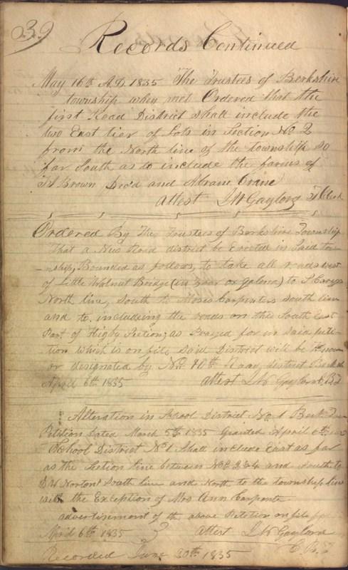 Record Book of Berkshire Township No. 2 1807-1843 (p. 52)
