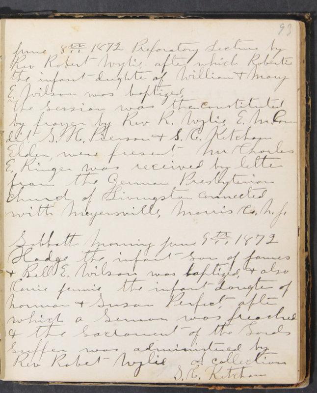 Sessional Records of the 1st Presbyterian Church of Trenton, Delaware Co., Ohio, 1831 (p. 99)
