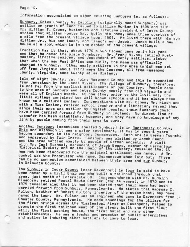 The Origin of the Name Sunbury (p. 10)