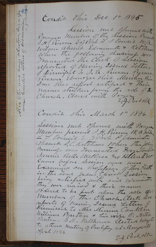 Sessional Records of the 1st Presbyterian Church of Trenton Delaware County Ohio 1873-1937 (p. 46)