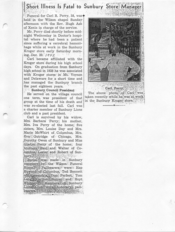 The Sunbury and Galena Communities and how they were in 1938 when Sunbury Lions Club Originated (p. 9)