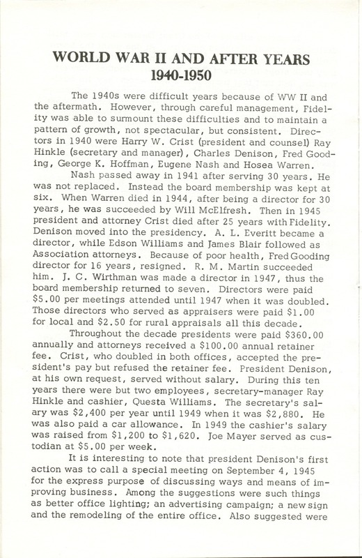 Fidelity Federal Savings and Loan Association 100 Years (p. 13)