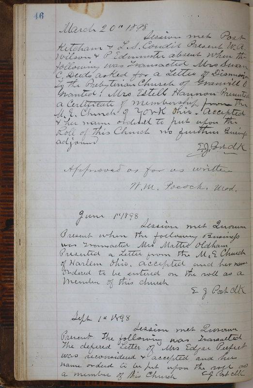 Sessional Records of the 1st Presbyterian Church of Trenton Delaware County Ohio 1873-1937 (p. 50)